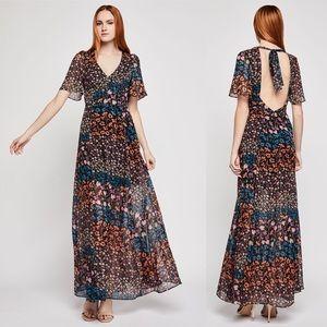 BCBG Generation Metallic Floral Maxi Dress
